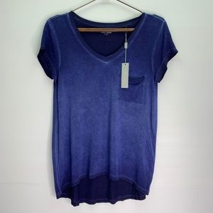 Cable & Gauge V Neck T Shirt Washed Blue Gradient